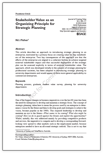 Stakeholder value as an organising principle for strategic planning